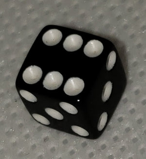 Koplow Black w/ White Numbers 8mm Mini Pipped 6-sided Die (d6)