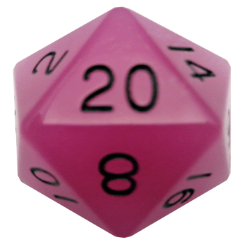 MDG Glow in the Dark: Purple w/ Black Numbers 35mm d20 (Jumbo)