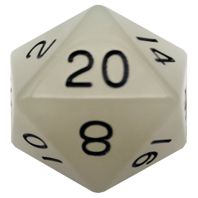 MDG Glow in the Dark: Clear w/ Black Numbers 35mm d20 (Jumbo)