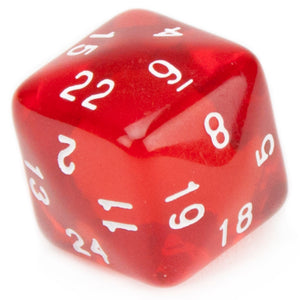 Translucent Red with White Numbers d24