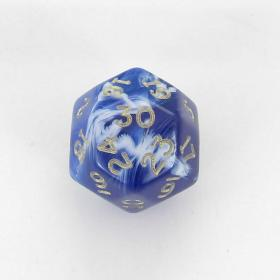 Chessex Blue Marble w/ Gold Numbers 30-sided Die (d30)