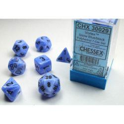 Chessex Vortex Snow Blue with Black Dice - Set of 7