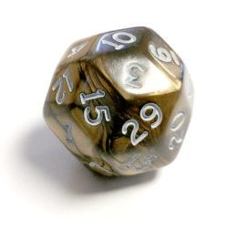 Chessex Pearlescent Antique Bronze w/ White Numbers 30-sided Die (d30)