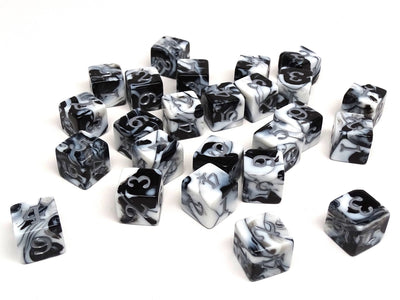 Easy Roller Black and White w/ Silver Numbers 16mm d6 Army Dice - Pack of 5