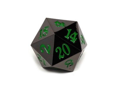 MDG Gunmetal w/ Green Numbers Metal 35mm d20 (Jumbo)