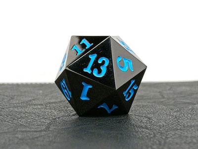 MDG Gunmetal w/ Powder Blue Numbers Metal 35mm d20 (Jumbo)