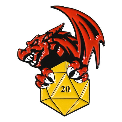 Dragon with d20 Pin