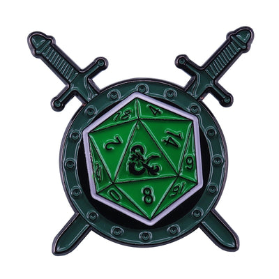 Sword Crest with Green D20 Pin