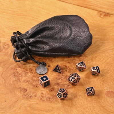 Critical Role Mighty Nein Blue Enamel and Copper Metal Dice Set