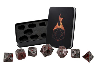 Blood Splatter Iron Silver with Black Metal Dice - Set of 7