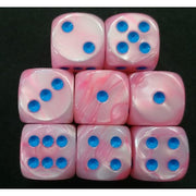 Chessex Lustrous Pink with Blue Dice - d6 (16mm)