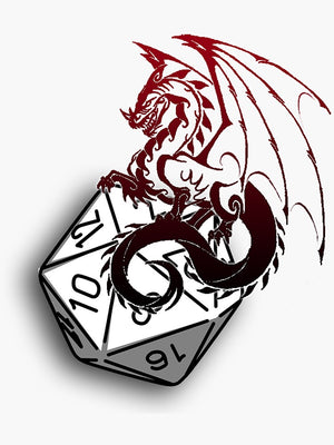 Red Dragon D20 Sticker