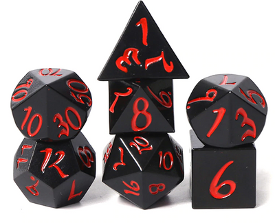 Solid Black Metal Dice with Red Scripted Numbers - Set of 7