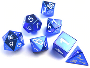 Solid Blue Metal Dice with White Scripted Numbers - Set of 7