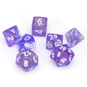 Chessex Borealis Purple with White Dice Set of 7