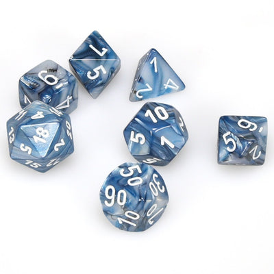 Chessex Lustrous Slate with White Dice - Set of 7