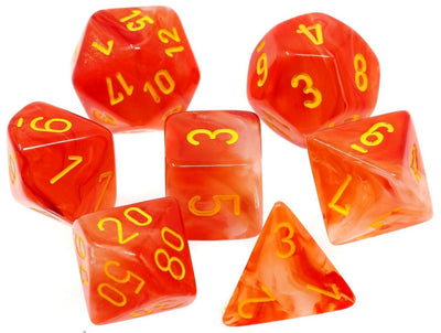 Chessex Ghostly Glow Orange with Yellow Dice - Bag of 20