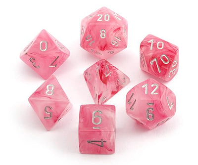 Chessex Ghostly Glow Pink with Silver Dice - Bag of 20