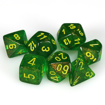 Chessex Borealis Maple Green with Yellow Dice - Set of 7