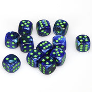 Chessex Lustrous Dark Blue with Green Dice - Block of 12 (16mm D6)