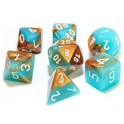 Chessex Luminary Gemini Copper/Turquoise with White Dice - Set of 7