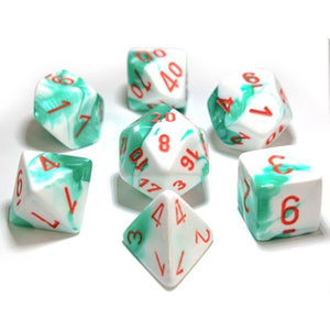 Chessex Gemini Mint Green/White with Orange Dice - Set of 7