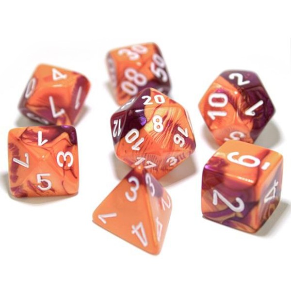 Chessex Gemini Orange/Purple with White Dice - Set of 7