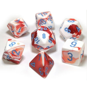 Chessex Gemini Red/White with Blue Dice - Set of 7