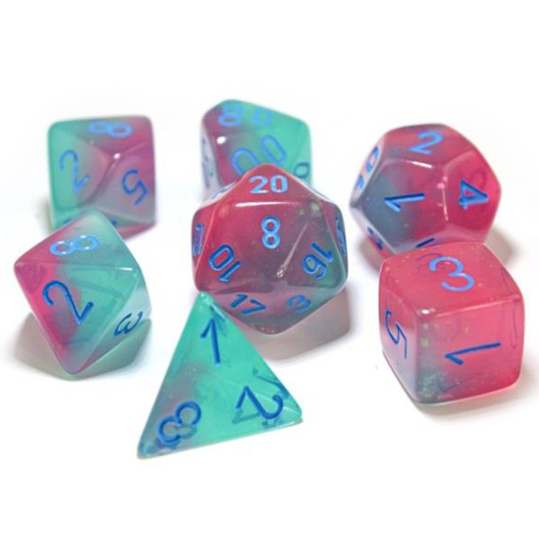 Chessex Luminary Gemini Green/Pink with Blue Dice - Set of 7