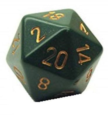Chessex Opaque Dusty Green w/ Copper Numbers 34mm d20 (Jumbo)
