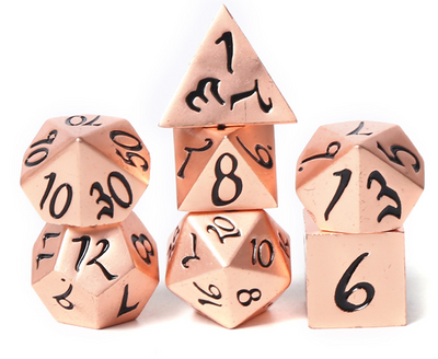 Solid Copper Metal Dice with Black Scripted Numbers - Set of 7