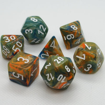Chessex Festive Autumn with White Dice - Set of 7