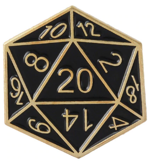 Black and Gold d20 Pin