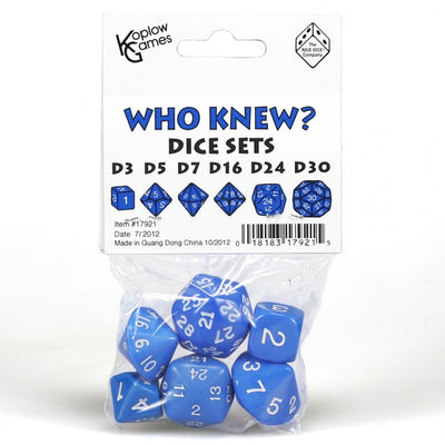 Koplow Who Knew? Blue with White Numbers Dice (d3,d5,d7,d16,d24,d30)