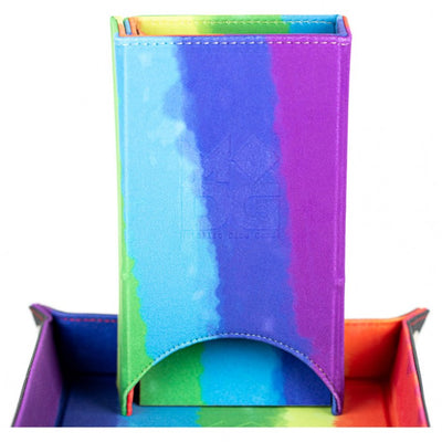 Fold-Up Velvet Dice Tower - Water Color Rainbow
