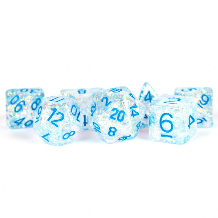 MDG Flash Clear with Blue Dice - Set of 7