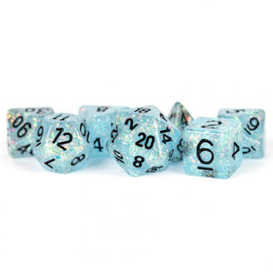 MDG Flash Blue with Black  Dice - Set of 7