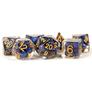 MDG Pearl Royal Blue with Gold Dice - Set of 7