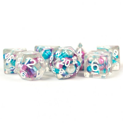 MDG Pearl Purple/Teal with White Dice - Set of 7