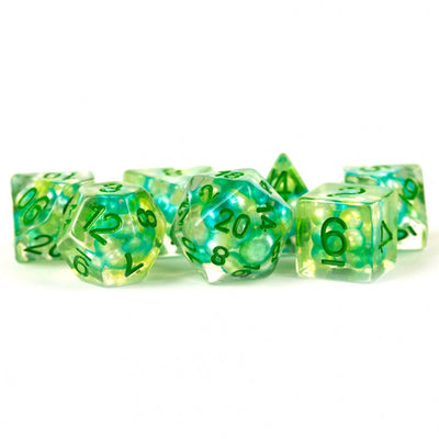 MDG Pearl Sea Foam with Green Dice - Set of 7