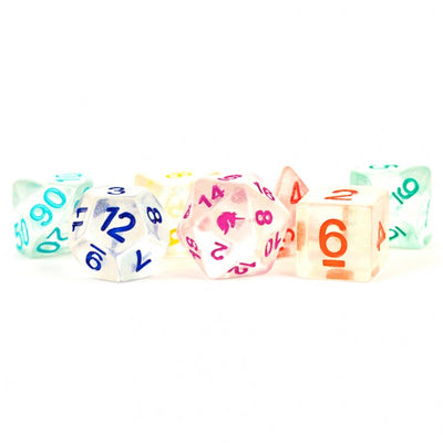 MDG Rainbow Ice Unicorn Dice - Set of 7