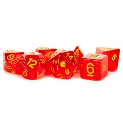 MDG Red Unicorn Dice - Set of 7