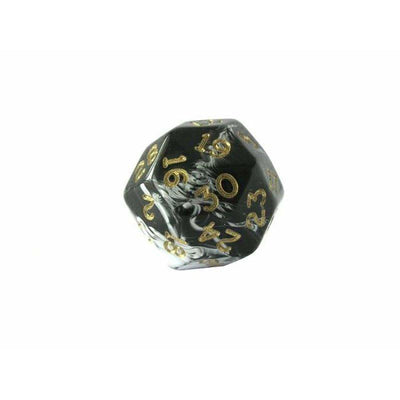 Chessex Black Marble w/ Gold Numbers 30-sided Die (d30)