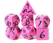 Solid Pink Metal Dice with Black Scripted Numbers - Set of 7