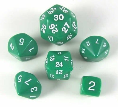 Koplow Who Knew? Green with White Numbers Dice (d3,d5,d7,d16,d24,d30)