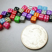 Koplow Assorted Opaque 5mm Mini Pipped 6-sided Die (d6) - Tube of 30