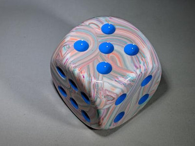 Chessex Festive Pop Art w/ blue Numbers 50mm d6 (Jumbo)
