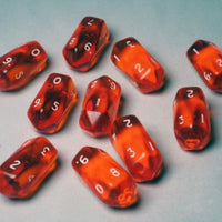 Crystal Caste Translucent Orange Crystal Shaped 10-sided Die (d10) - Pack of 10