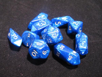 Crystal Caste Blue Pearl with White Numbers Acrylic Hybrid Dice - Set of 10