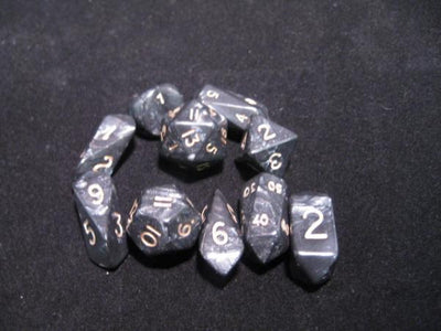 Crystal Caste Black Pearl with White Numbers Acrylic Hybrid Dice - Set of 10